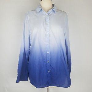 Talbots blue ombre lightweight button up shirt L
